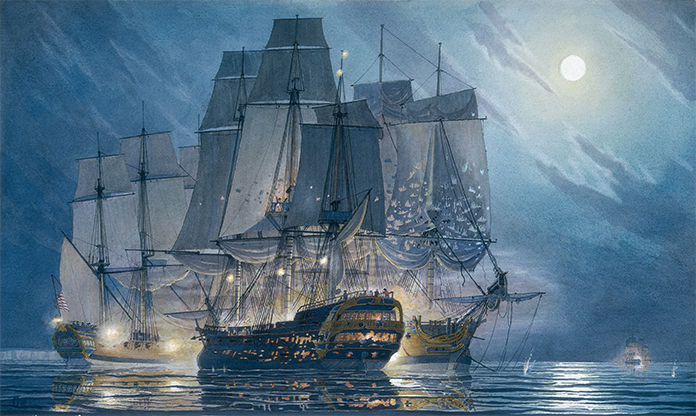 John Paul Jones' Bonne Homme Richard engages HMS Serapis; frigate Alliance in background.
