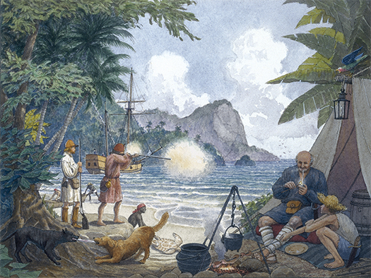 Buccaneers' camp on Tortuga.