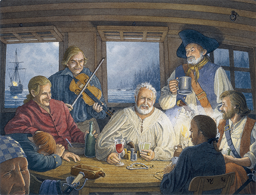 A social evening at anchor in Sam Bellamy's cabin.