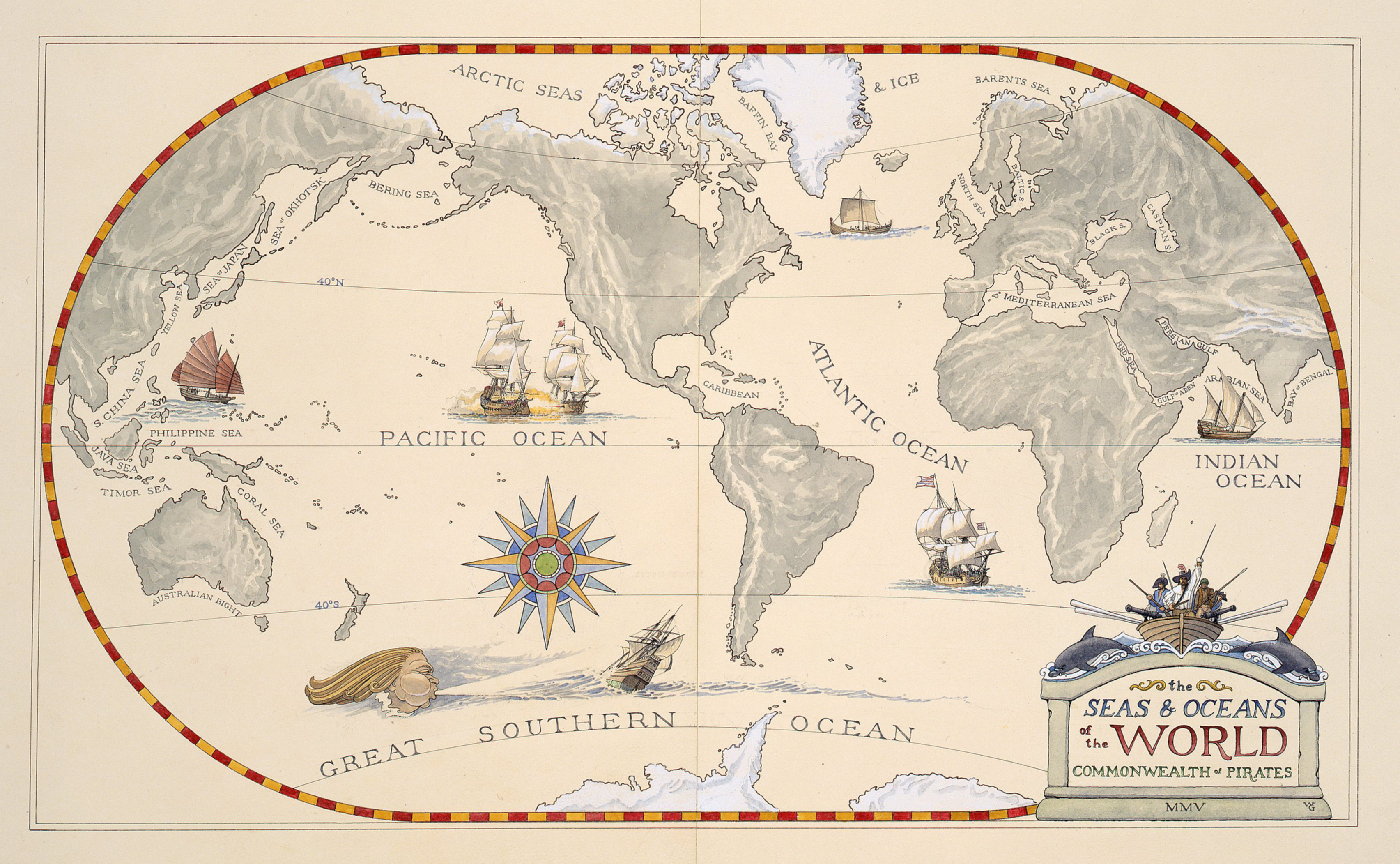 Pirate World Map.The Seas And Oceans Of The World William Gilkerson