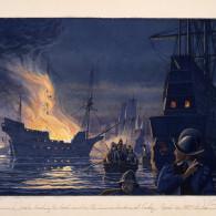 Sir Francis Drake leading a raid